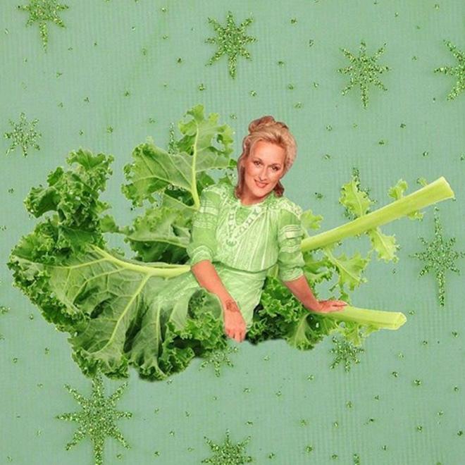 Meryl Streep photoshopped into food.