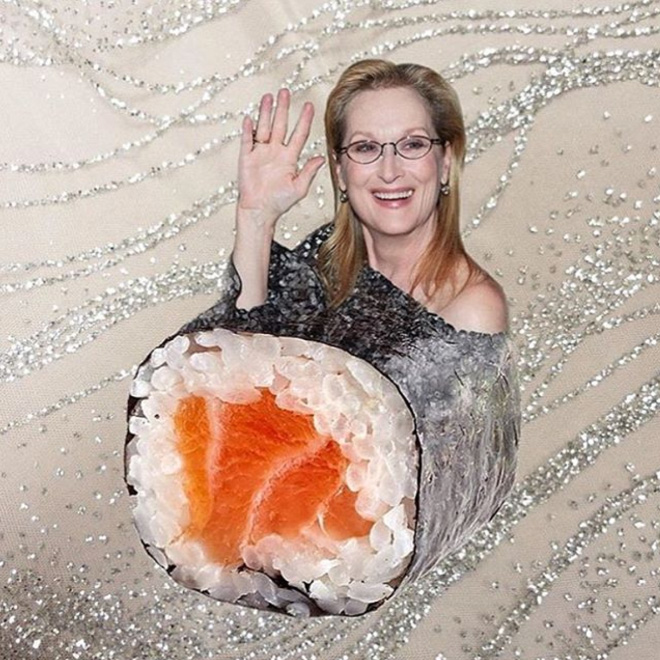 Meryl Streep photoshopped into food.