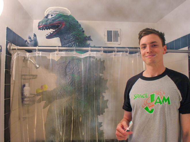 Washing together with Godzilla.