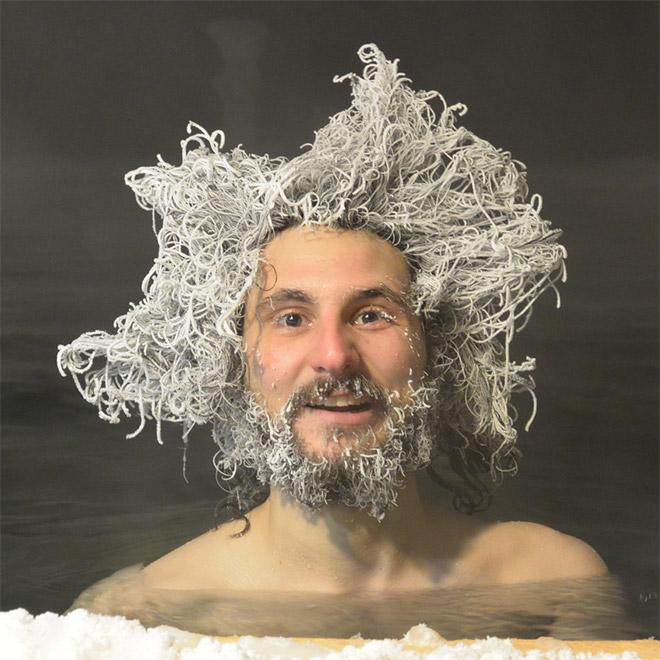 Funny frozen hair.