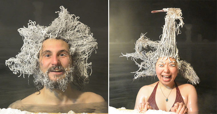 Funny Photos From The Hair Freezing Contest of Takhini Hot Springs