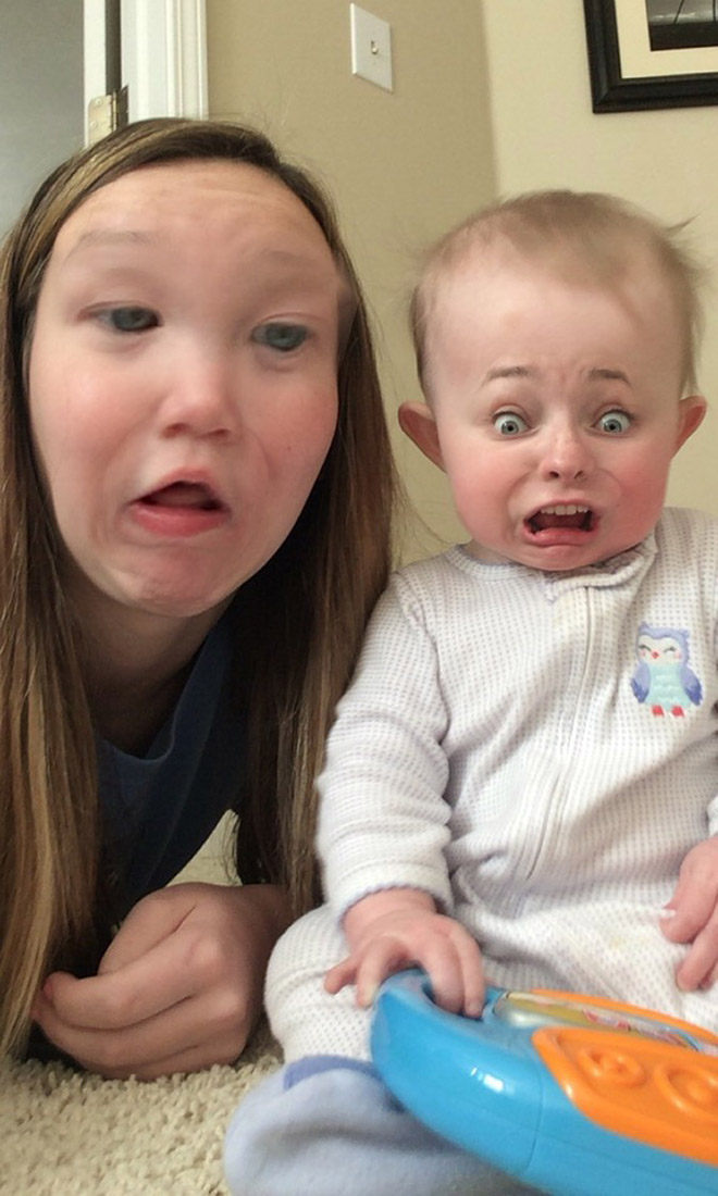 Baby face swap app horror show.