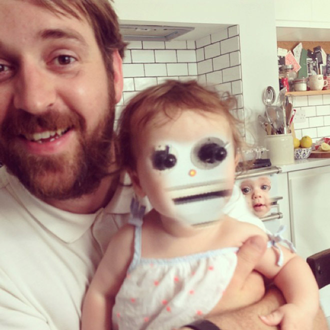 Face swap app used on a baby.