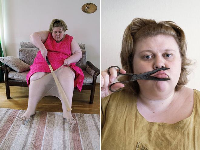 Really strange self portraits.
