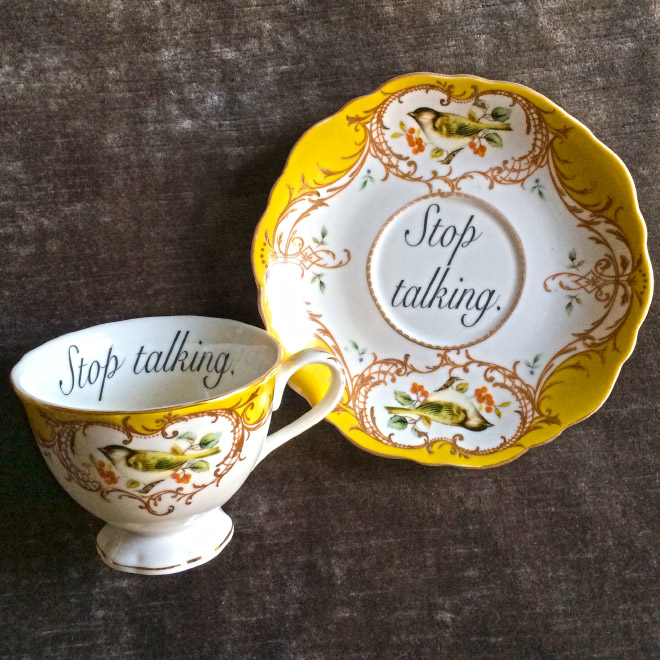 "Not-so-subtly insulting teacup ""for the lady who speaks her mind""."