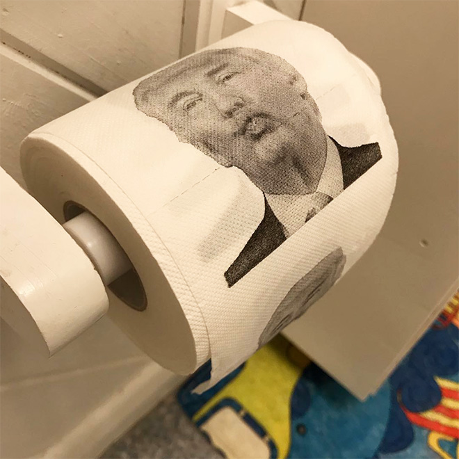 Donald Trump toilet paper vs. Coronavirus.