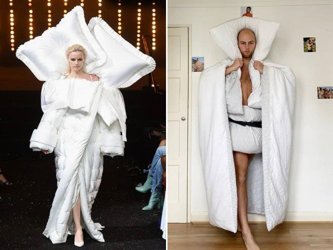 High fashion parody.