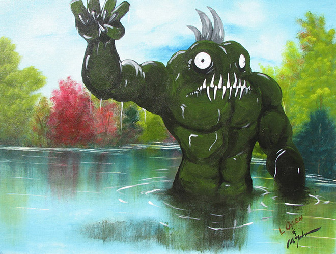 Monster added to a thrift store painting.