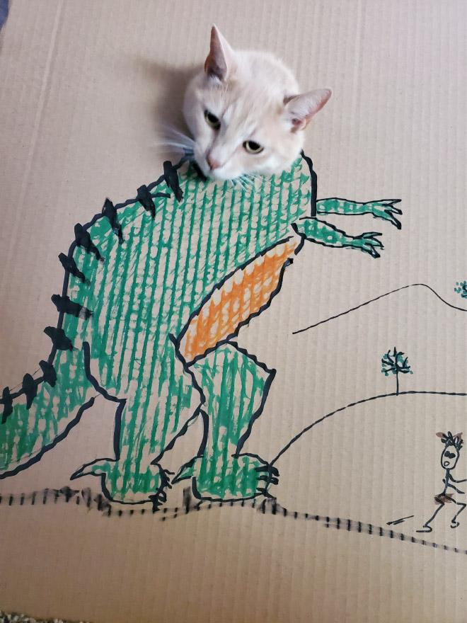 Cat dinosaur.