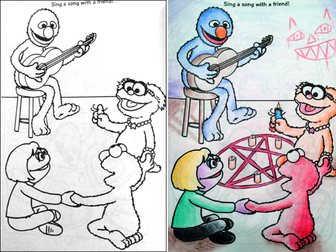 Defaced coloring book.