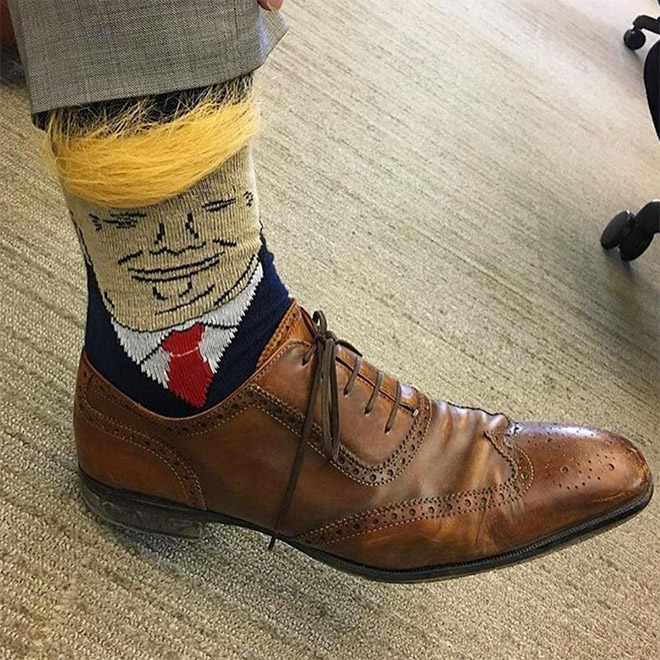 Trump socks with realistic hair.