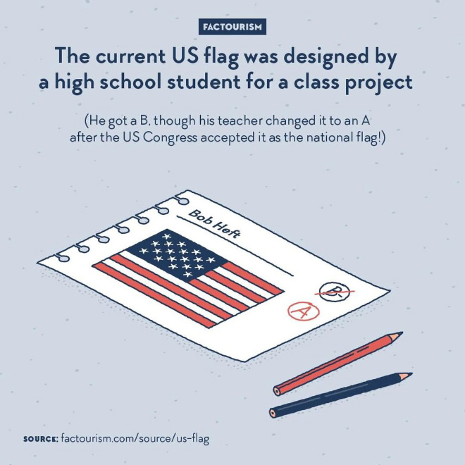 The US flag, stripes and stars, has been having a similar design since the 18th century. But with the number of states changing all the time, the number of stars had to change too. And who says a different number of stars says a different arrangement, so that they all fit satisfyingly in the blue rectangle. With the addition of Alaska and Hawaii in early second half of the 20th century, there was a need for a 50-stars design. The designer of the winning arrangement, 9 lines of alternating 5 and 6 stars, is called Robert Heft and came up with it as part of a school project. He spent a weekend cutting and sewing his flat proposal, which was accepted as an official flag by congressman Walter Moeller and finally adopted in 1960.