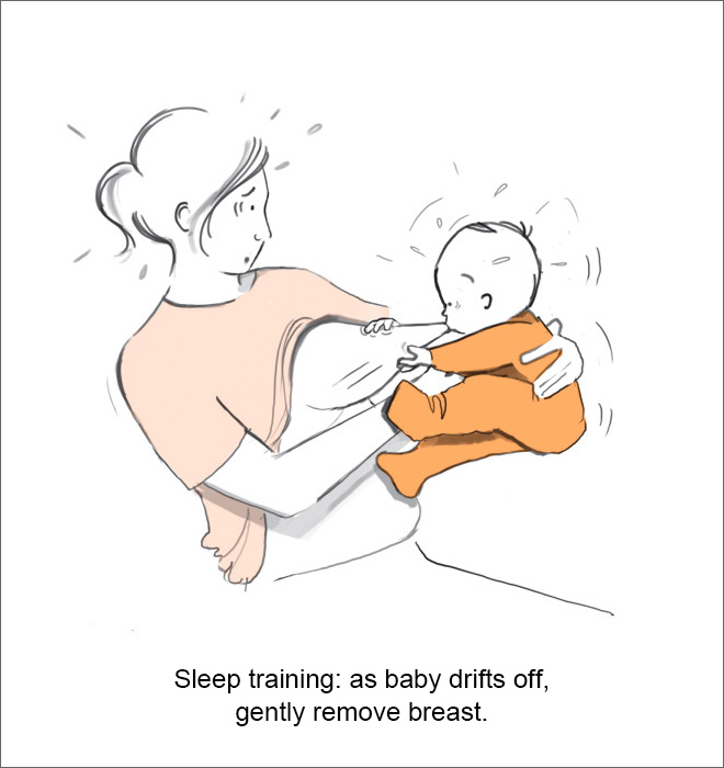 Sleep training: as baby drifts off, gently remove breast.