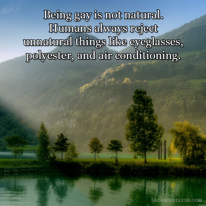 Being gay is not natural. Humans always reject unnatural things like eyeglasses, polyester, and air conditioning.