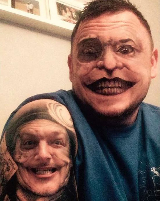 When you use a face swap app on your tattoo...
