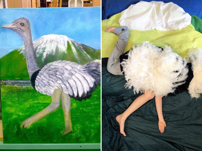 Funny recreated amateur painting.