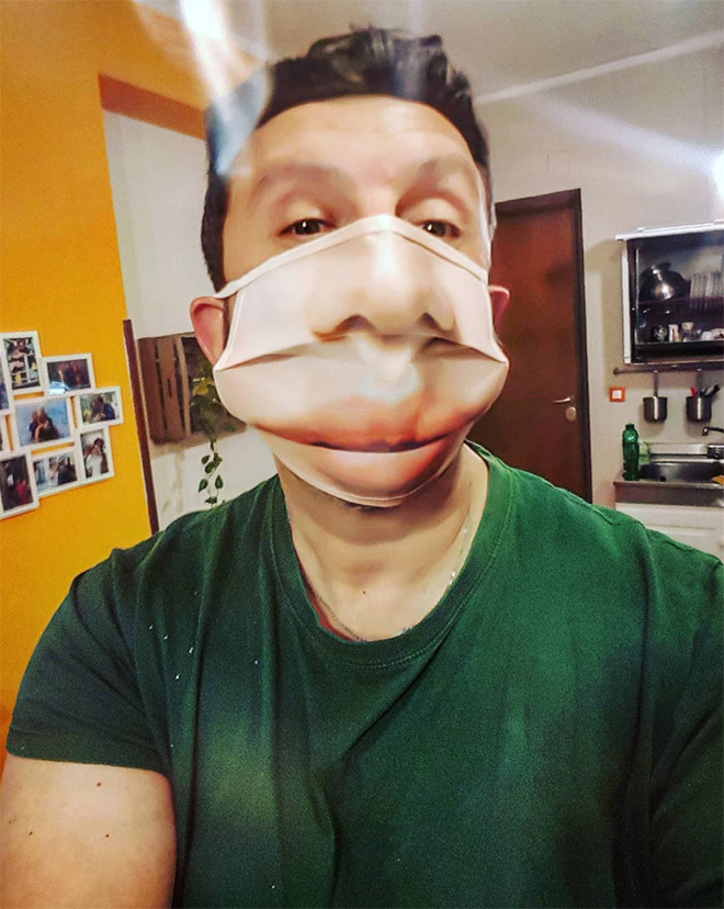 Funny realistic face mask.
