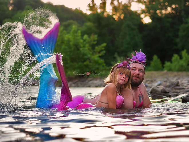 Father and daughter mermaid photoshoot.