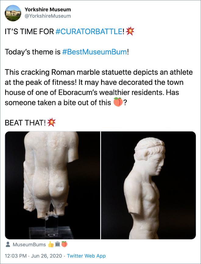This cracking Roman marble statuette depicts an athlete at the peak of fitness! It may have decorated the town house of one of Eboracum's wealthier residents. Has someone taken a bite out of this?