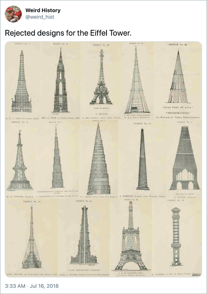 Rejected designs for the Eiffel Tower.