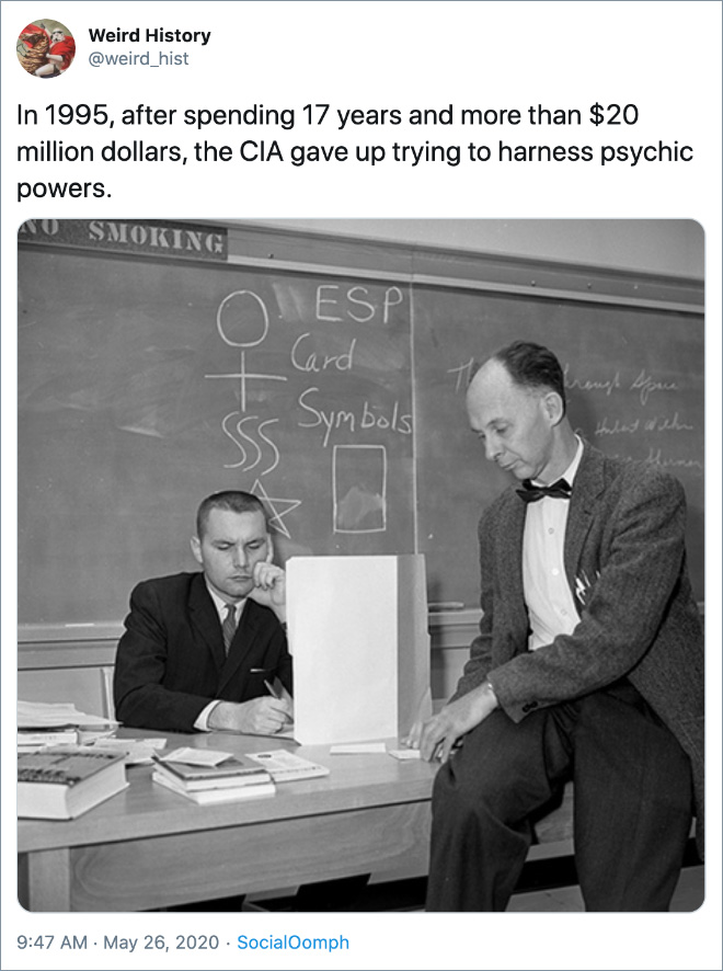 In 1995, after spending 17 years and more than $20 million dollars, the CIA gave up trying to harness psychic powers.