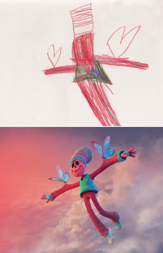 Kids' drawing recreated by a professional artist.