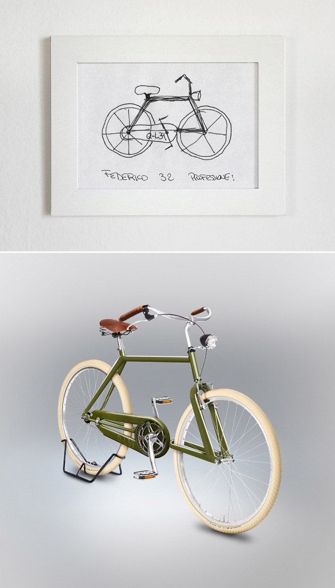 Drawing made from memory recreated as a real bicycle.