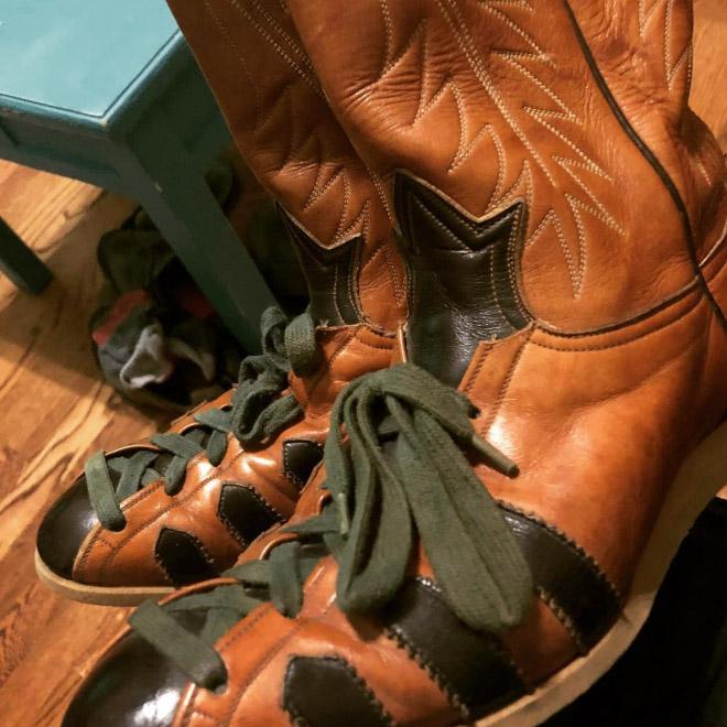 Cowboy boot sneakers.