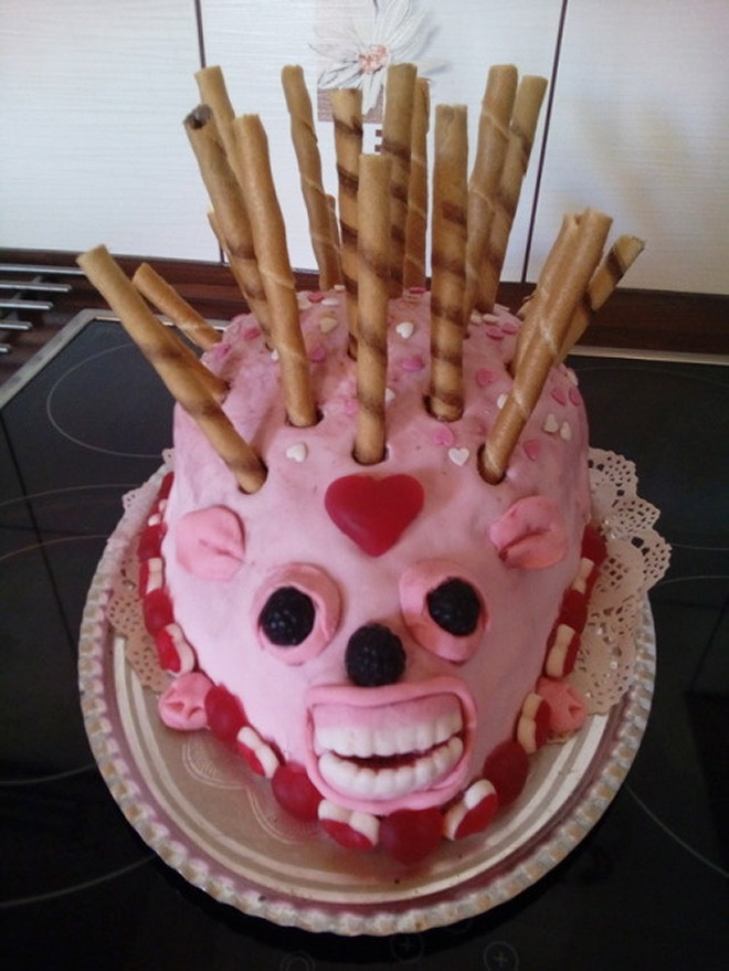 Cursed hedgehog cake.
