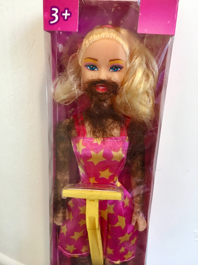 Hairy Barbie doll.