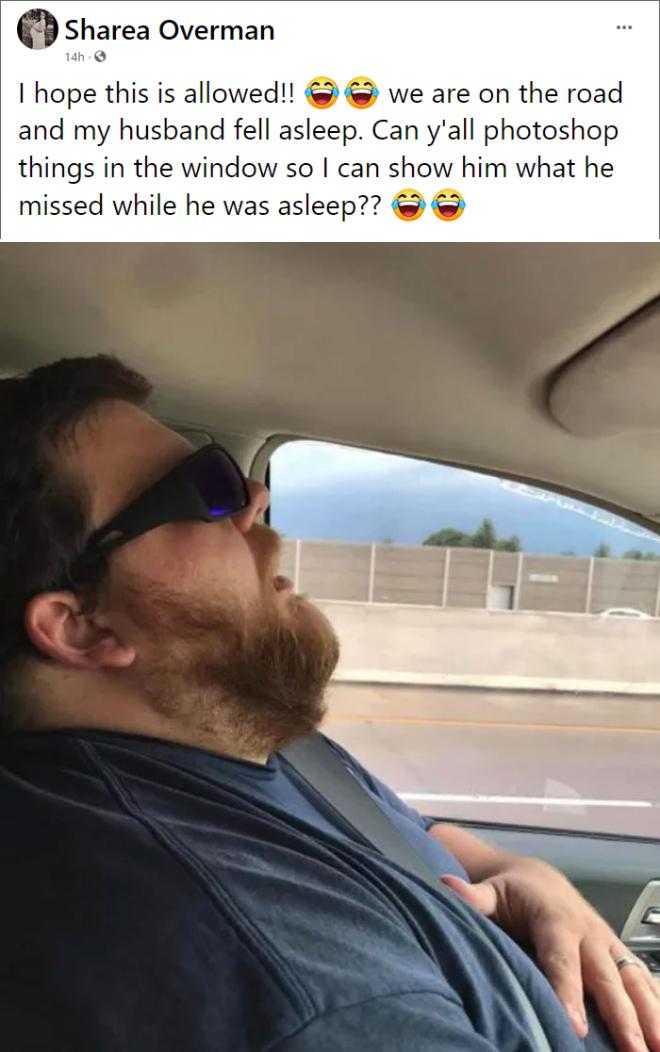 Snoozing husband.