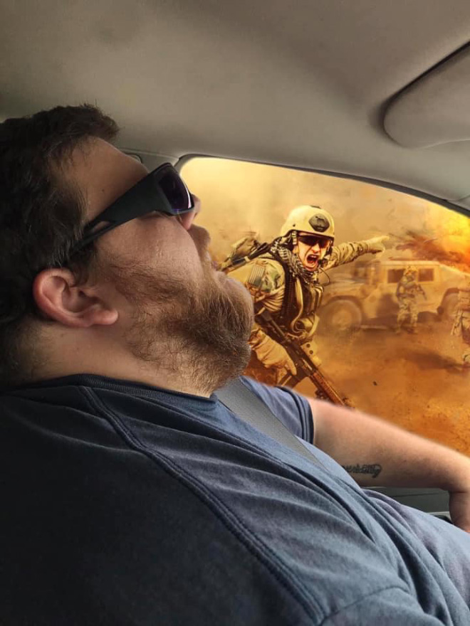 When sleeping husband meets Photoshop...