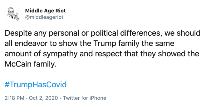 Despite any personal or political differences, we should all endeavor to show the Trump family the same amount of sympathy and respect that they showed the McCain family.