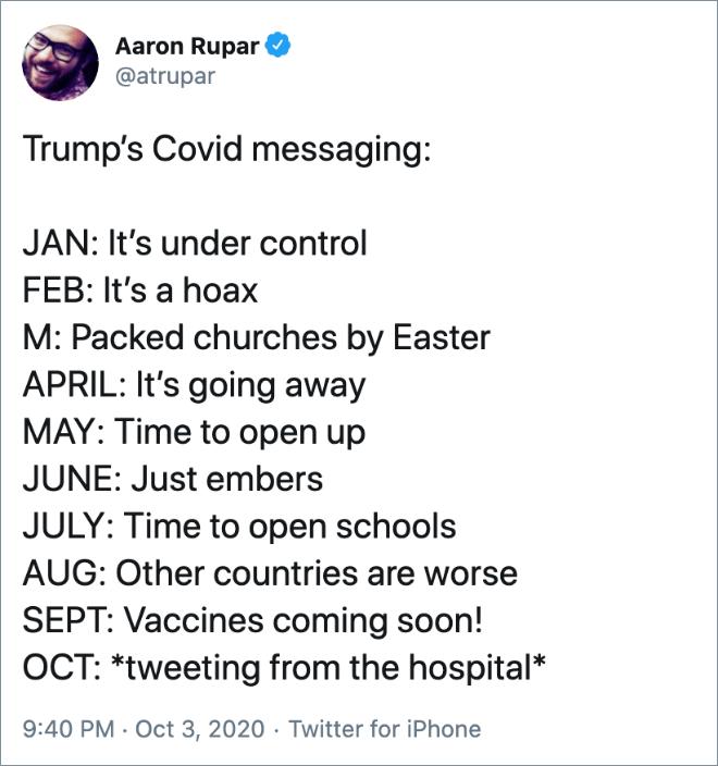 Trump's Covid messaging.