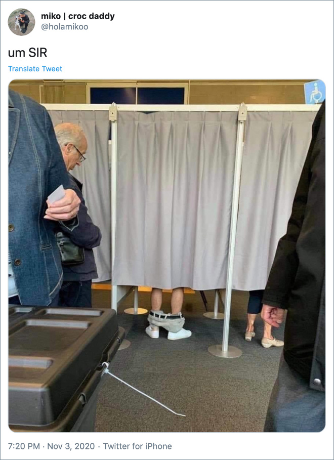 Voting: he's doing it wrong.
