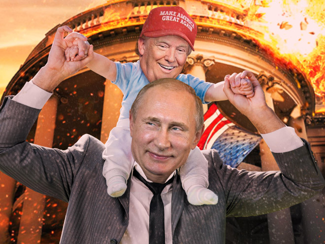 Little Donald and Papa Putin.