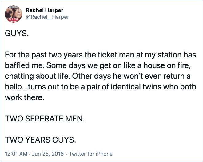For the past two years the ticket man at my station has baffled me. Some days we get on like a house on fire, chatting about life. Other days he won't even return a hello...