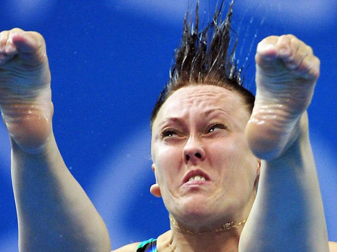 Olympic diving face.