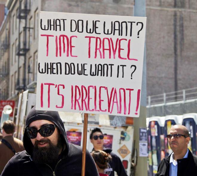 Hilariously random protest sign.