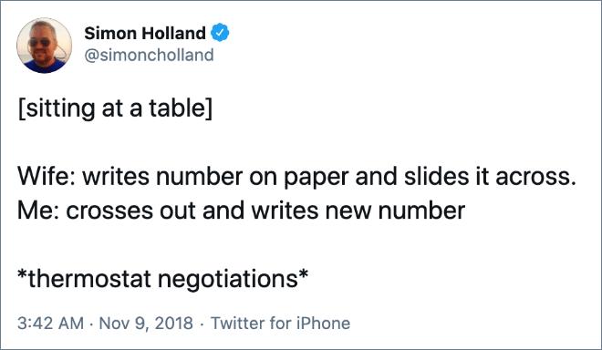 Thermostat negotiations.