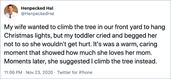 My wife wanted to climb the tree in our front yard to hang Christmas lights, but my toddler cried and begged her not to so she wouldn't get hurt. It's was a warm, caring moment that showed how much she loves her mom. Moments later, she suggested I climb the tree instead.