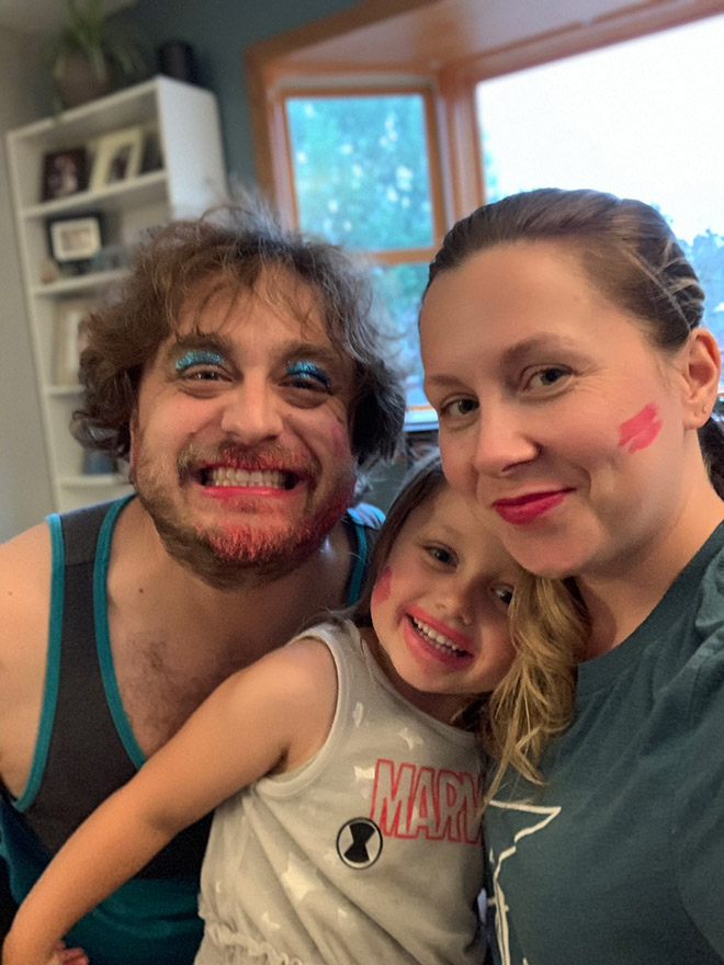 When daughter does dad's makeup.