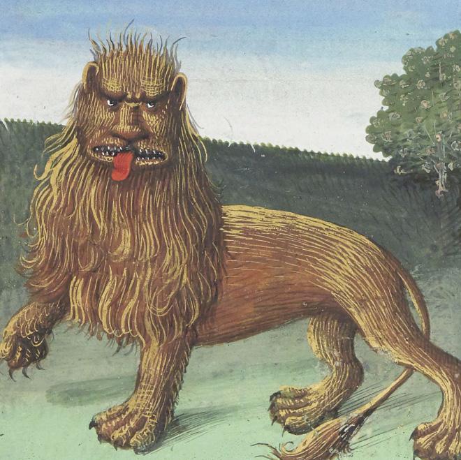 Medieval lion art.
