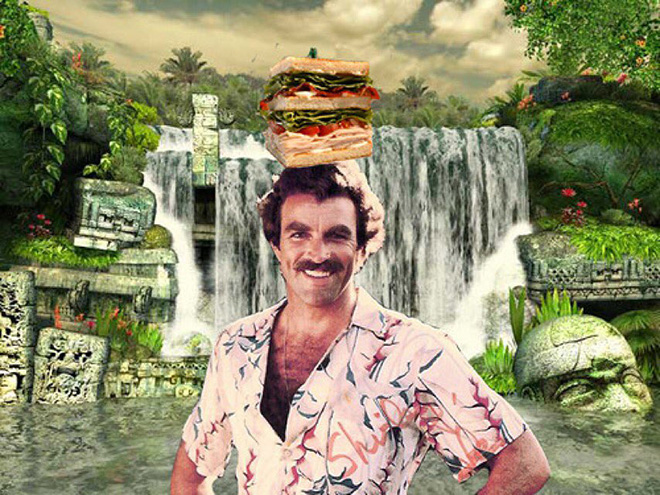 Tom Selleck photoshopped into a waterfall scene with a sandwich.