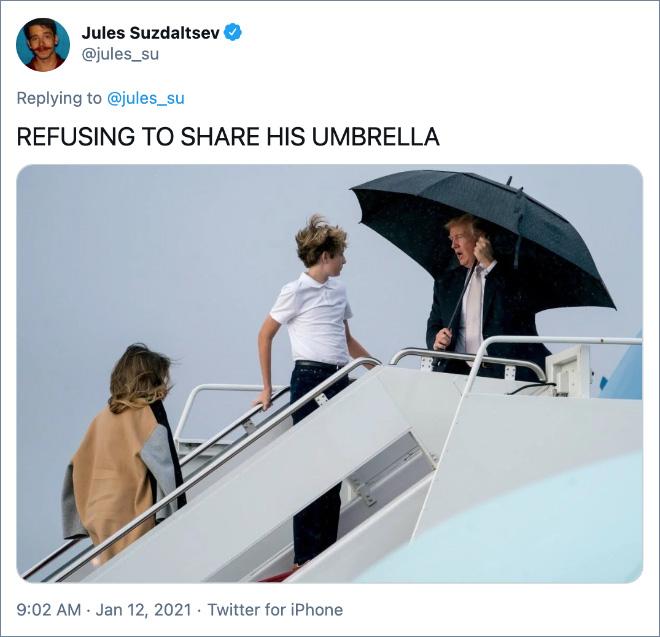 REFUSING TO SHARE HIS UMBRELLA
