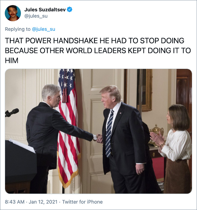 THAT POWER HANDSHAKE HE HAD TO STOP DOING BECAUSE OTHER WORLD LEADERS KEPT DOING IT TO HIM