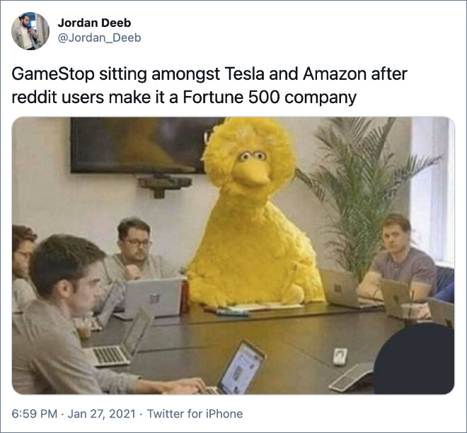 GameStop sitting amongst Tesla and Amazon after reddit users make it a Fortune 500 company