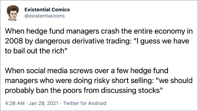 """When social media screws over a few hedge fund managers who were doing risky short selling: """"we should probably ban the poors from discussing stocks"""""""