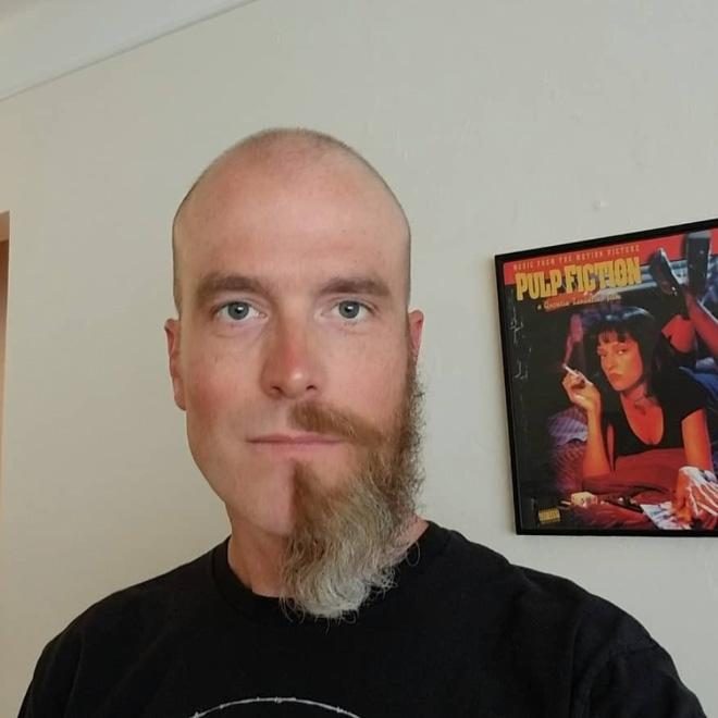 Half beard male fashion trend.