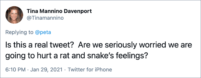 Is this a real tweet? Are we seriously worried we are going to hurt a rat and snake's feelings?